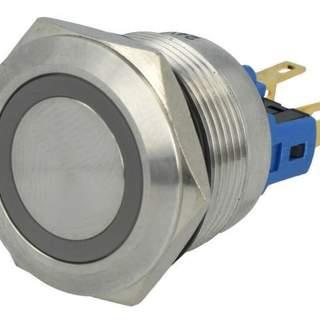 Tryckknapp Blå LED 24v