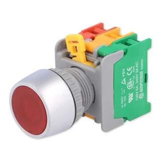 Tryckknapp röd lampa 22mm