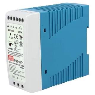 24v Switchande Nätaggregat för DIN-skena 60W 2,5A