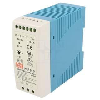 5v Switchande Nätaggregat för DIN-skena 50w 10A
